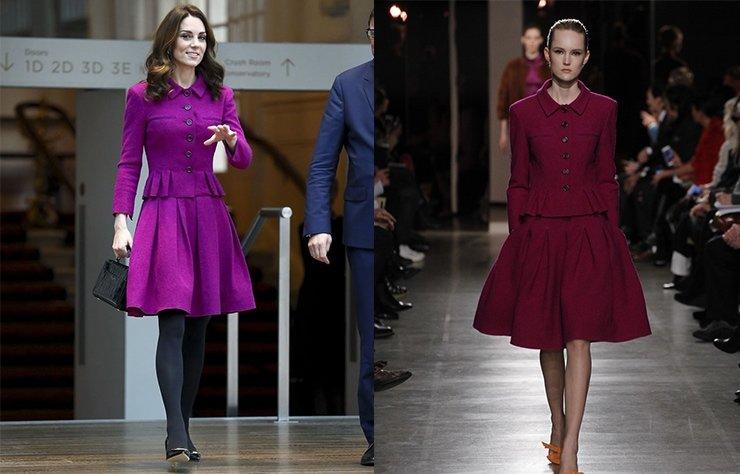 Cambridge Düşesi Kate Middleton Londra The Royal Opera House ziyareti için mor renkte Oscar de la Renta etek ceket takım tercih etti.