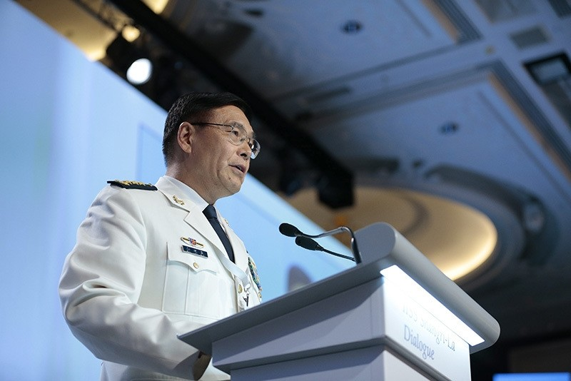 Admiral Sun Jianguo, Deputy Chief of Staff of China, delivers his speech during the fourth plenary session of the International Institute for Strategic Studies (IISS) 15th Asia Security Summit. (EPA Photo)