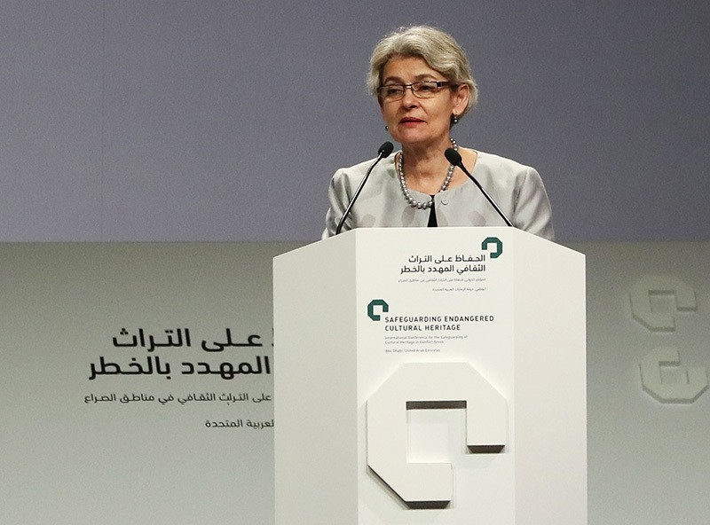 UNESCO director Irina Bokova delivers a speech during the closing ceremony of an international conference on protecting the world's cultural heritage on December 3 (AFP Photo)