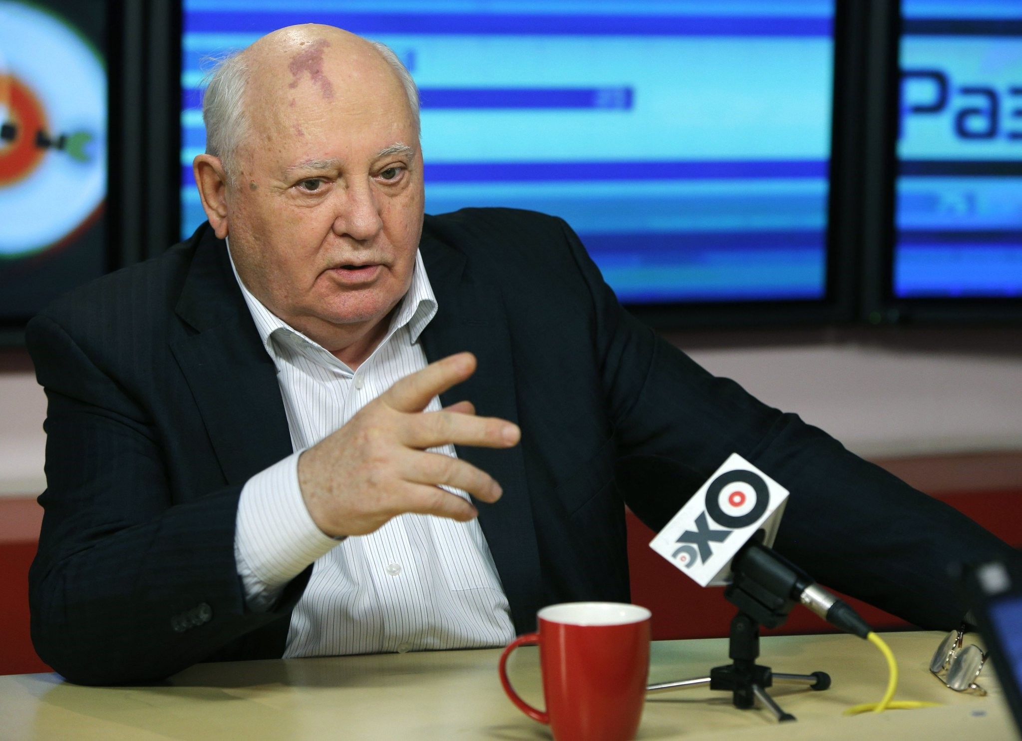 In this photo taken late Monday, Nov. 12, 2012, former President of the Soviet Union Mikhail Gorbachev speaks to journalists on Ekho Moskvy radio in Moscow, Russia.  (AP Photo)