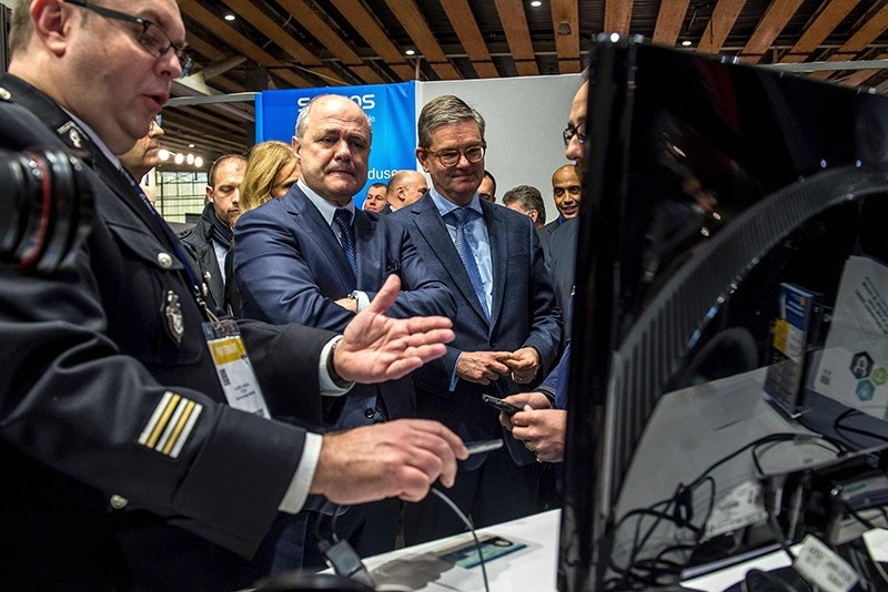 France's Minister of the Interior Bruno Le Roux looks on during a presentation of a computer security system on January 24, 2017 in Lille (AFP Photo)