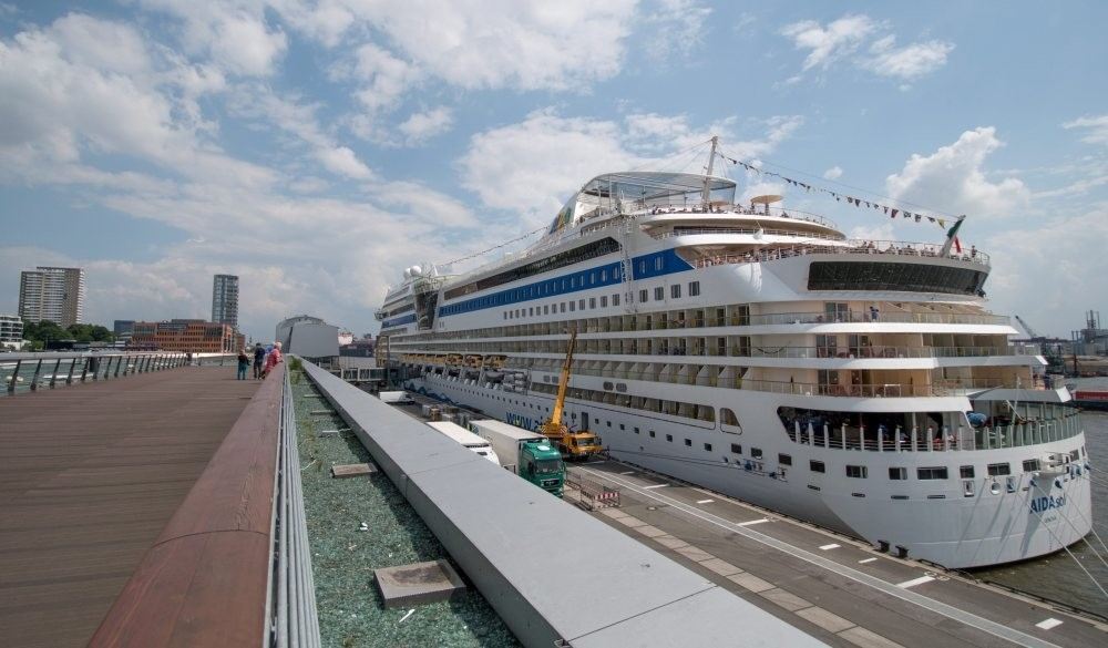 The cruise ship AidaSol docked at the cruise terminal Altona in Hamburg, Germany. Forty-five Turkish companies participated in the international shipping fair in Athens this week.
