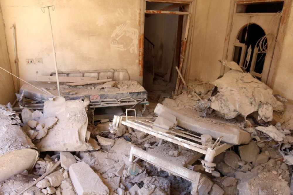 A damaged field hospital room is seen after airstrikes in a opposition-held area in Aleppo, Syria Oct. 1.