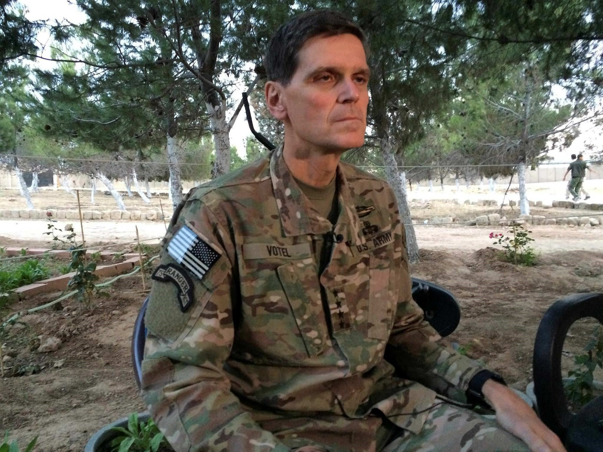 Army Gen. Joseph Votel speaks to reporters Saturday, May 21, 2016 during a secret trip to Syria. (AP Photo)