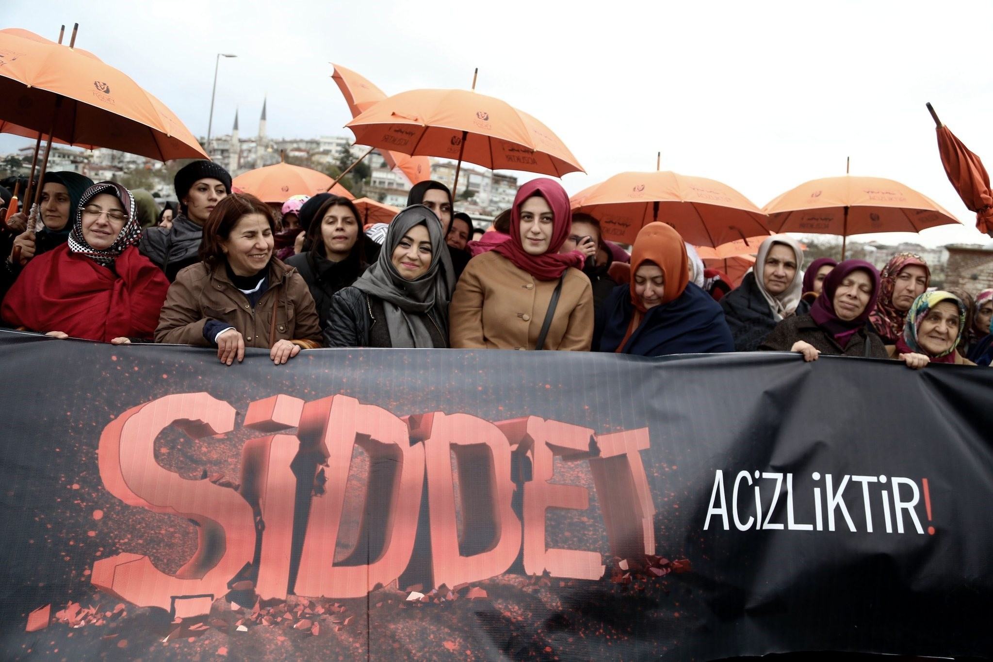 Female members of the AK Party hold a demonstration in u00dcsku00fcdar, Istanbul against violence. The placard says, u201cViolence is weakness.u201d