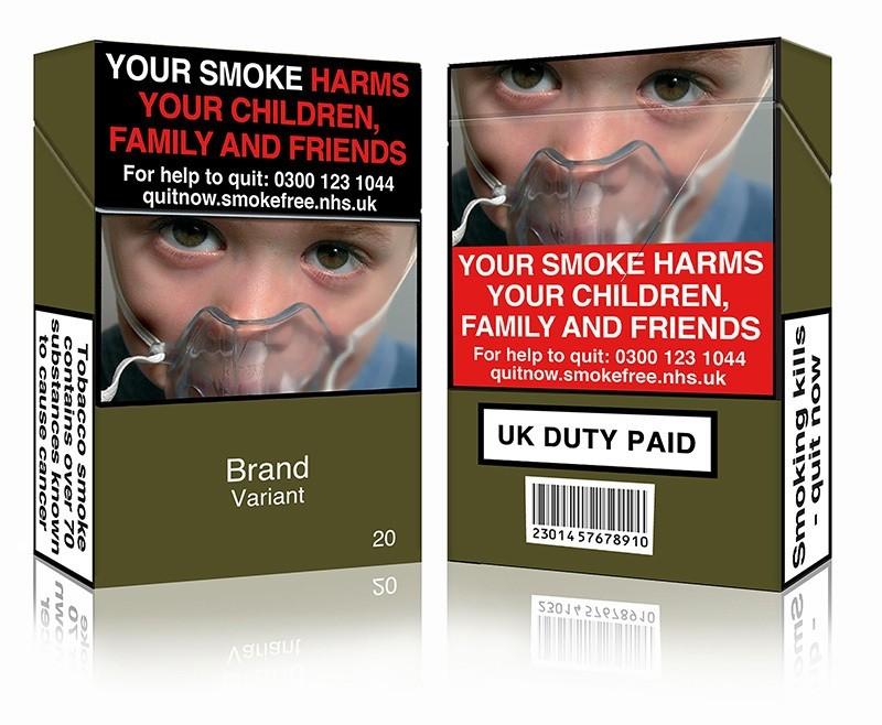 An undated handout image released by Action on Smoking and Health (UK) (ASH (UK)) in London on May 19, 2016 shows a mock-up design of a standardized cigarette pack. (AFP Photo)