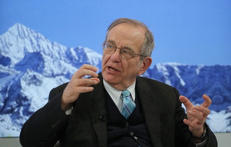 Italy's Finance Minister Pier Carlo Padoan attends a panel on the second day of the annual meeting of the World Economic Forum in Davos (AP Photo)