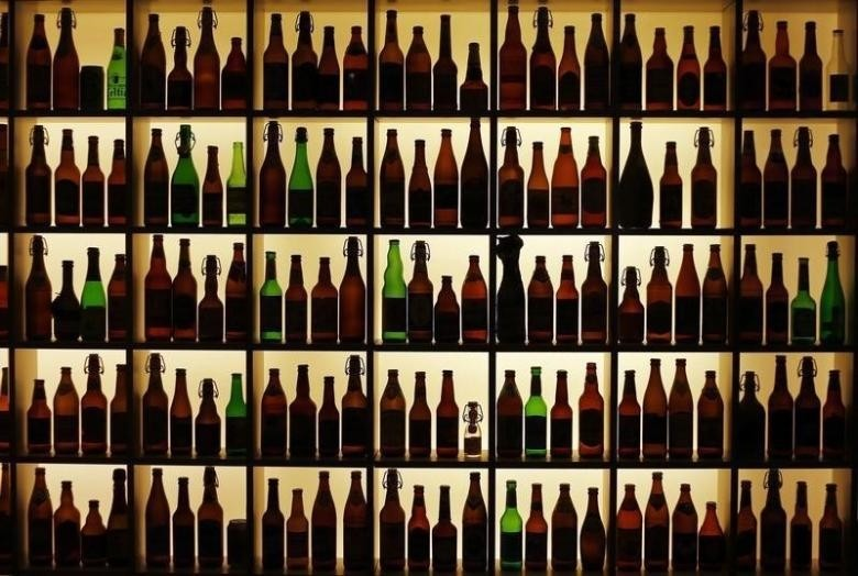 Beer bottles from all over the world are on display at the Hop museum in Wolnzach on April 10, 2014. (REUTERS Photo)