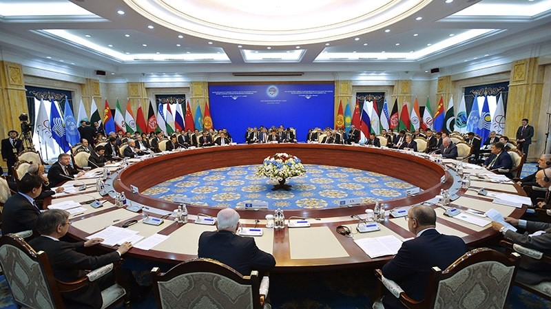 Heads of government from countries of the Shanghai Cooperation Organisation gather for a summit in 2016. (AP Photo)