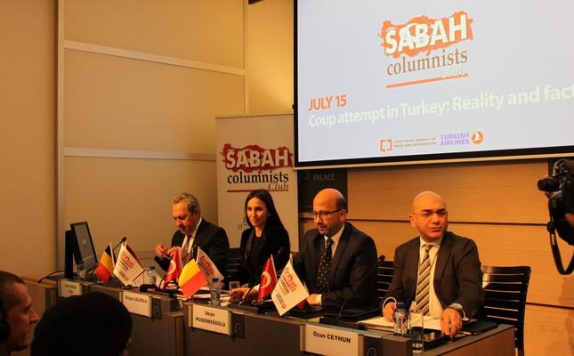 From left to right: Sabah columnists Şeref Oğuz, Okan Müderrisoğlu and Ozan Ceyhun and AHaber news channel's anchor Duygu Leloğlu (CL)