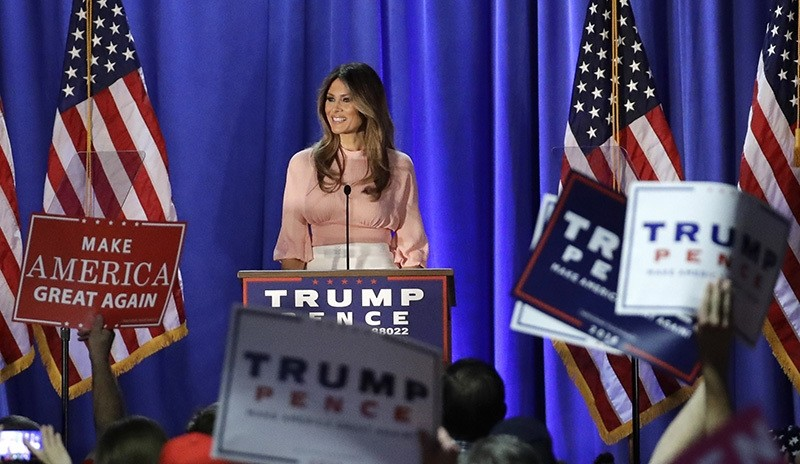 In this Nov. 3, 2016 file photo, Melania Trump, wife of Republican presidential candidate Donald Trump, speaks in Berwyn, Pa. (AP Photo)