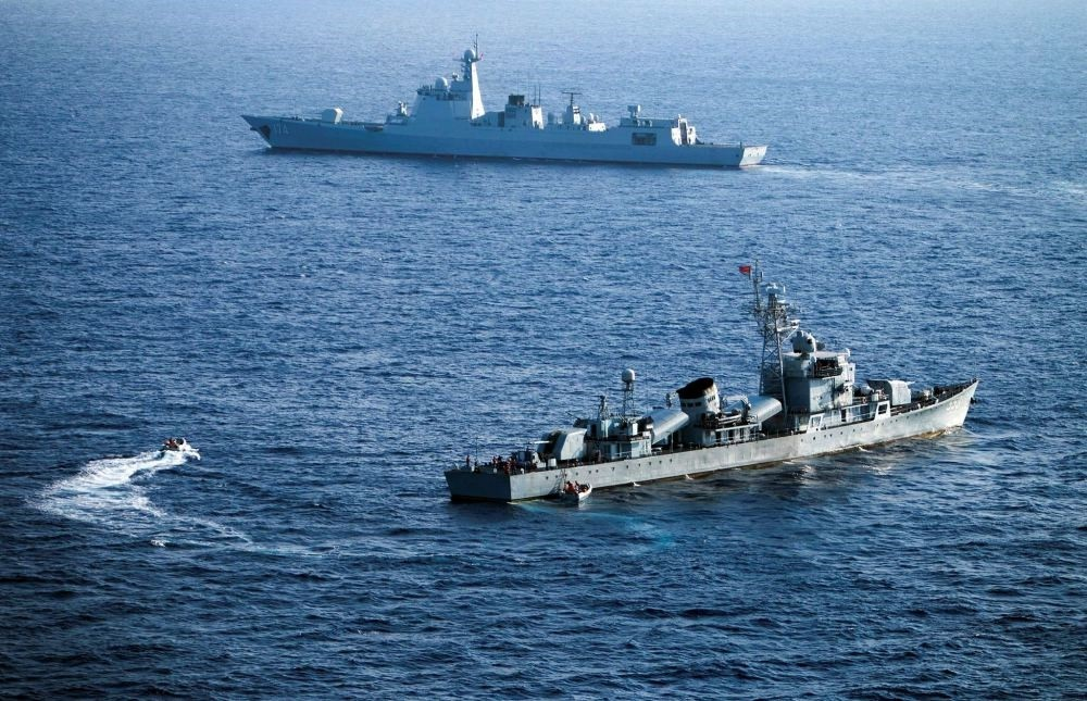 Crew members of China's South Sea fleet taking part in a drill in the Xisha Islands or the Paracel Islands in the South China Sea.