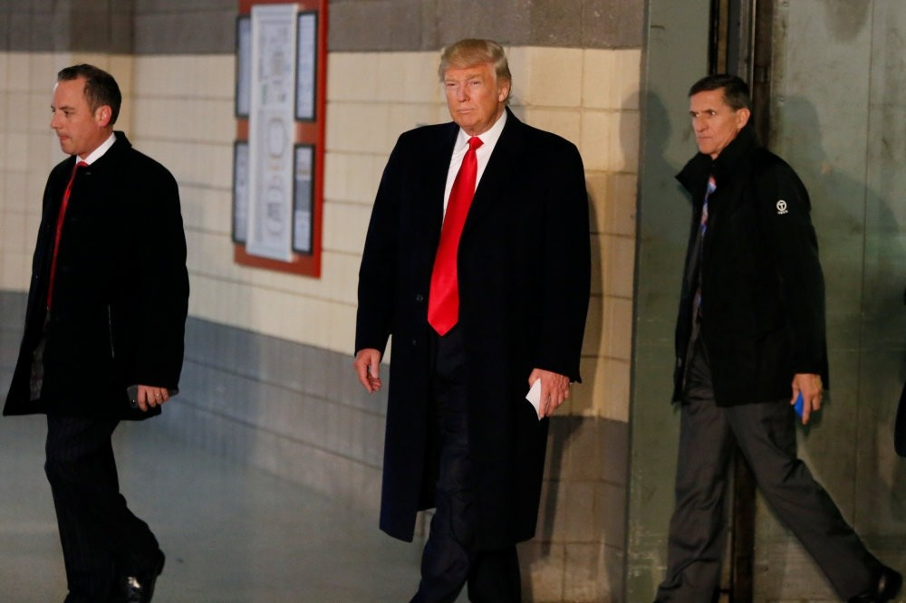 The U.S. President-elect Donald Trump and retired U.S. Army Lt. Gen. Michael Flynn (R). Flynn is on Gu00fclentist figures' target due to his negative-view on Fetullah Gu00fclen.