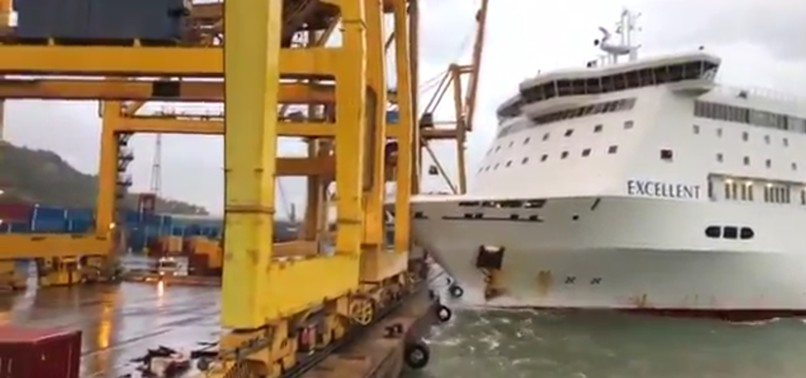 FERRY COLLIDES WITH CRANE, STARTS FIRE IN BARCELONA PORT
