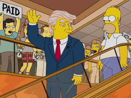 A still image from the episode 'Trumptastic Voyage shows Donald Trump and Homer Simpson.