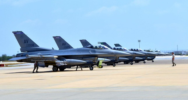 This US Air Force handout photo taken on Aug. 9, 2015 shows F-16 Fighting Falcons sitting on the tarmac at the Incirlik Air Base in Turkey.