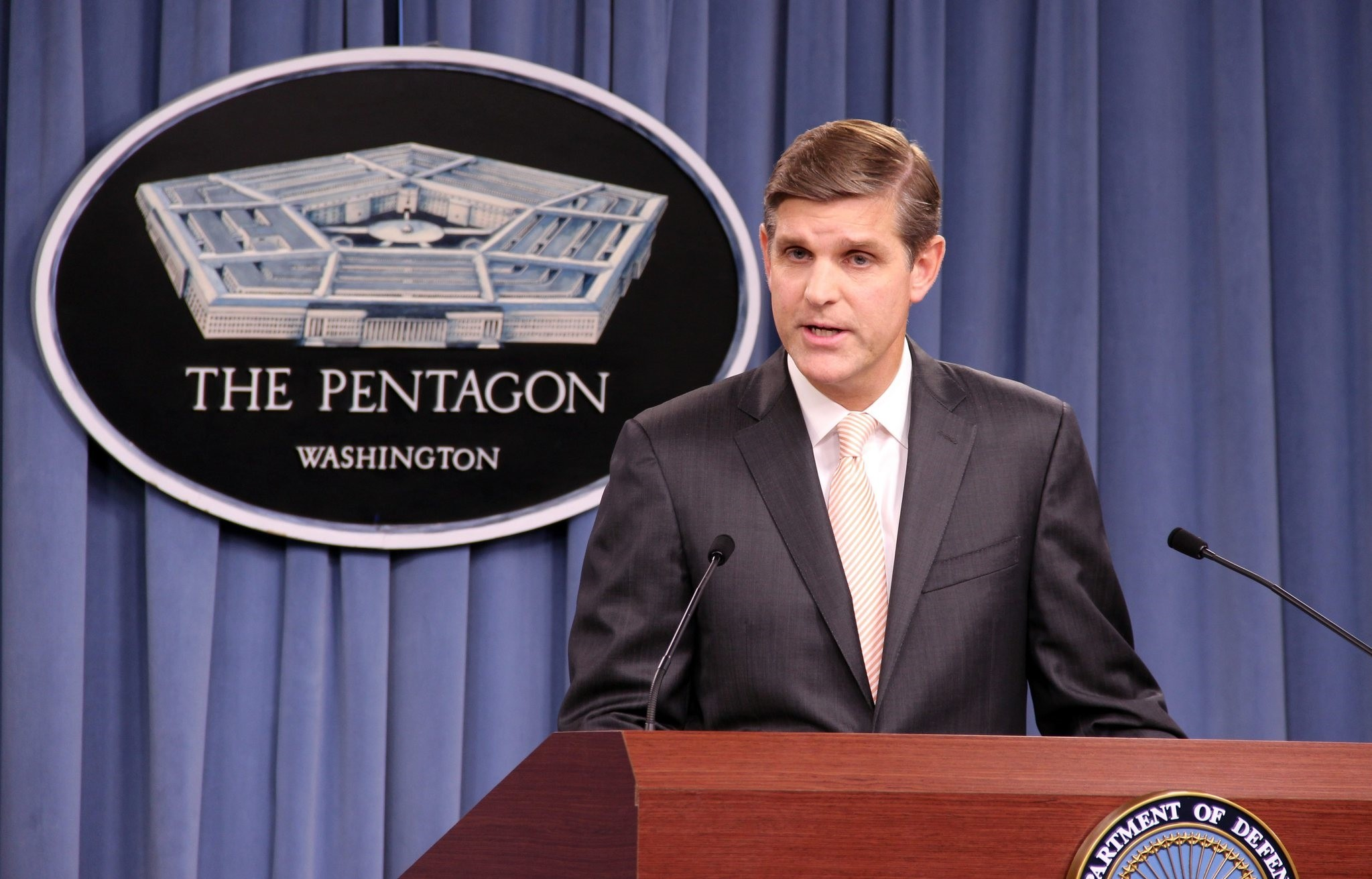 Pentagon spokesperson Peter Cook speaks to reporters during a press conference in  Washington, D.C. (AA Photo)