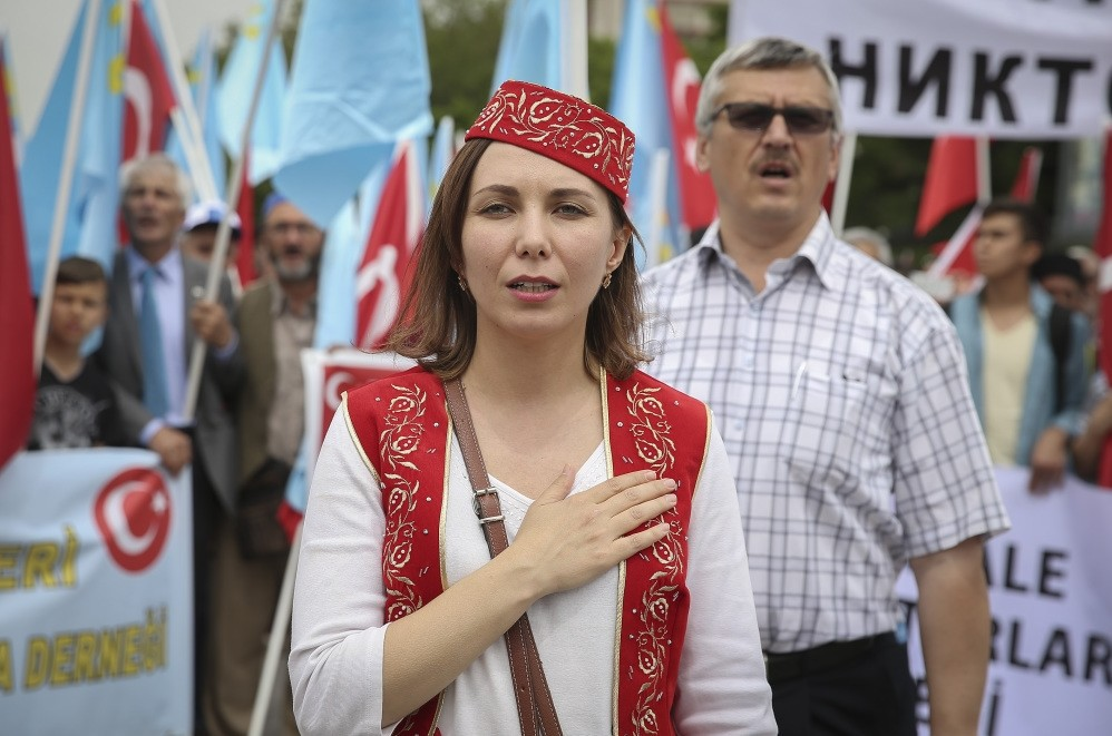 Crimean Tatars who live in Turkey commemorate the 72nd anniversary of the Soviet Union deportation of Crimean Tatars in Ankara on May 14.