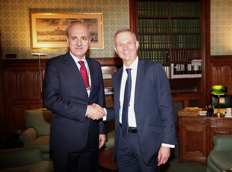 Turkish Deputy PM Kurtulmuu015f (L) met with UK House of Commons leader David Lidington. (AA Photo)