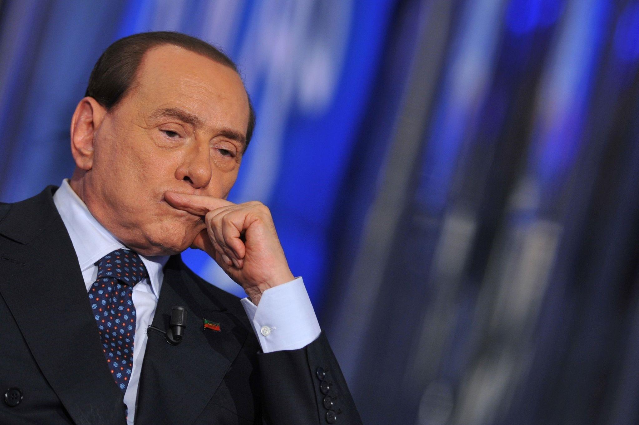 Italian former Prime Minister Silvio Berlusconi attending the ,Porta a Porta, TV show at the Rai 1 headquarters.  (AFP Photo)