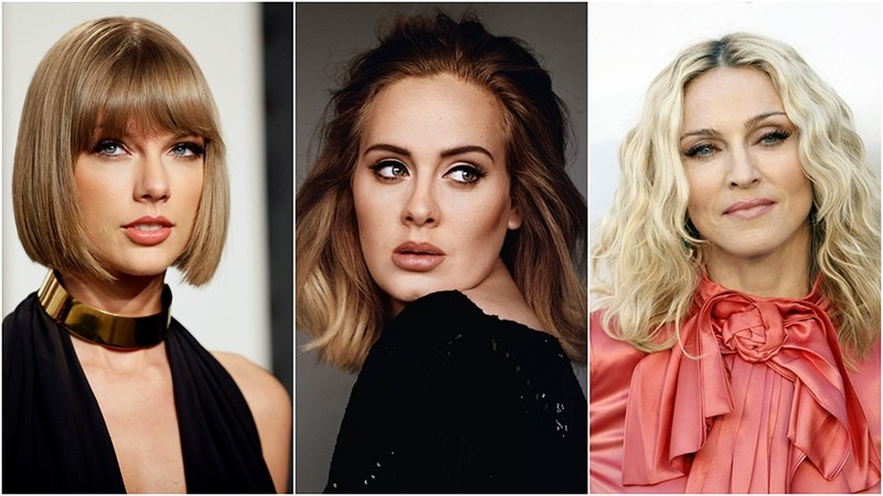 Taylor Swift (L), Adele and Madonna (R) were the highest paid women in music in 2016. (FILE Photos)