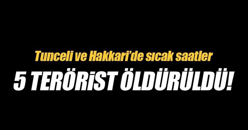 Tunceli ve Hakkari'de 5 terörist öldürüldü