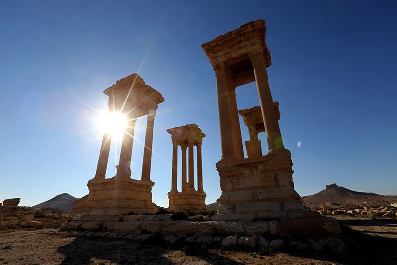 This file photo taken on March 31, 2016 shows the Tetrapylon of the ancient Syrian city of Palmyra.