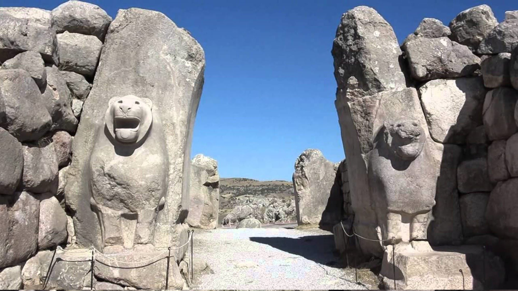The Lion Gate, named for two matched lions carved from two arched stones, is located in southwestern entrance to Hattusa, built in about 1.340 BC. Lions were of considerable symbolic importance to the Hittite civilization.