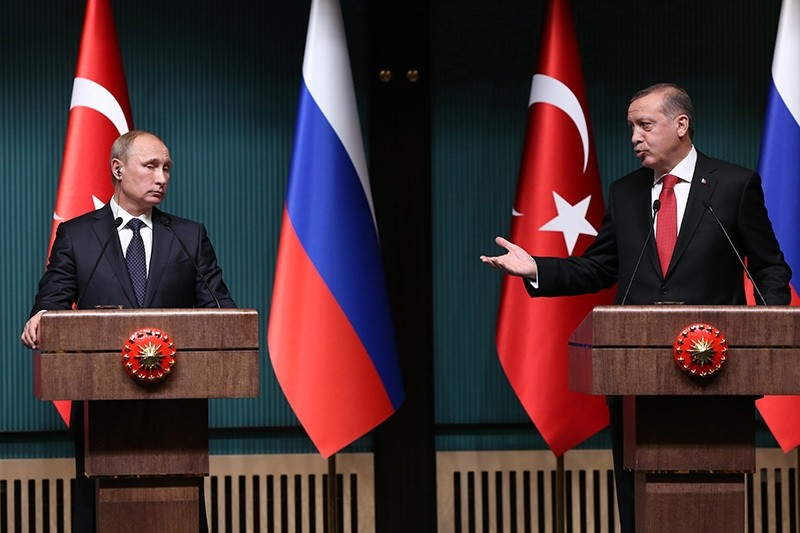 In this file photo dated December 01, 2014, Turkish President Recep Tayyip Erdou011fan holds a joint press meeting with his Russian counterpart Vladimir Putin at the presidential complex in Ankara. (Photo: Sabah/Ali Ekeyu0131lmaz)