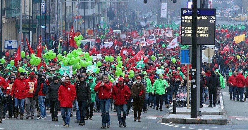 Belçikada emeklilik protestosu