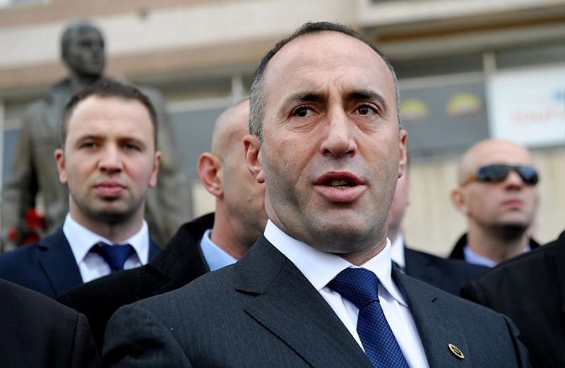 In this file photo, Kosovo's former Prime Minister Ramush Haradinaj talks to the media after paying homage to the statue of ex-Kosovo Liberation Army (KLA) commander Zahir Pajaziti in Pristina. (AFP Photo)
