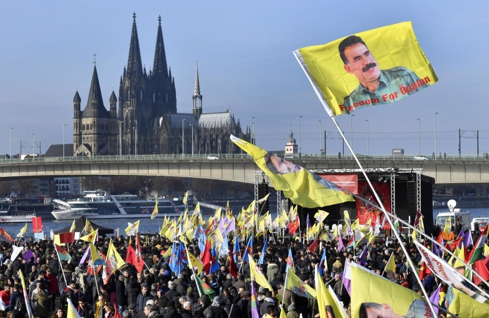 Pro-PKK demonstrators held a rally in Cologne, Germany on Nov. 12 with the banners of PKK leader Abdullah u00d6calan.