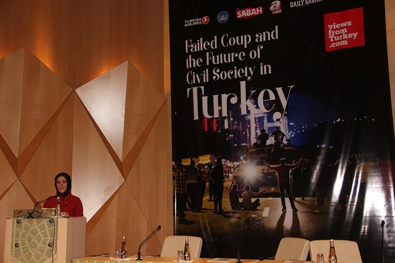 Dr. Esra Albayrak delivering her speech during the event. (AA Photo)
