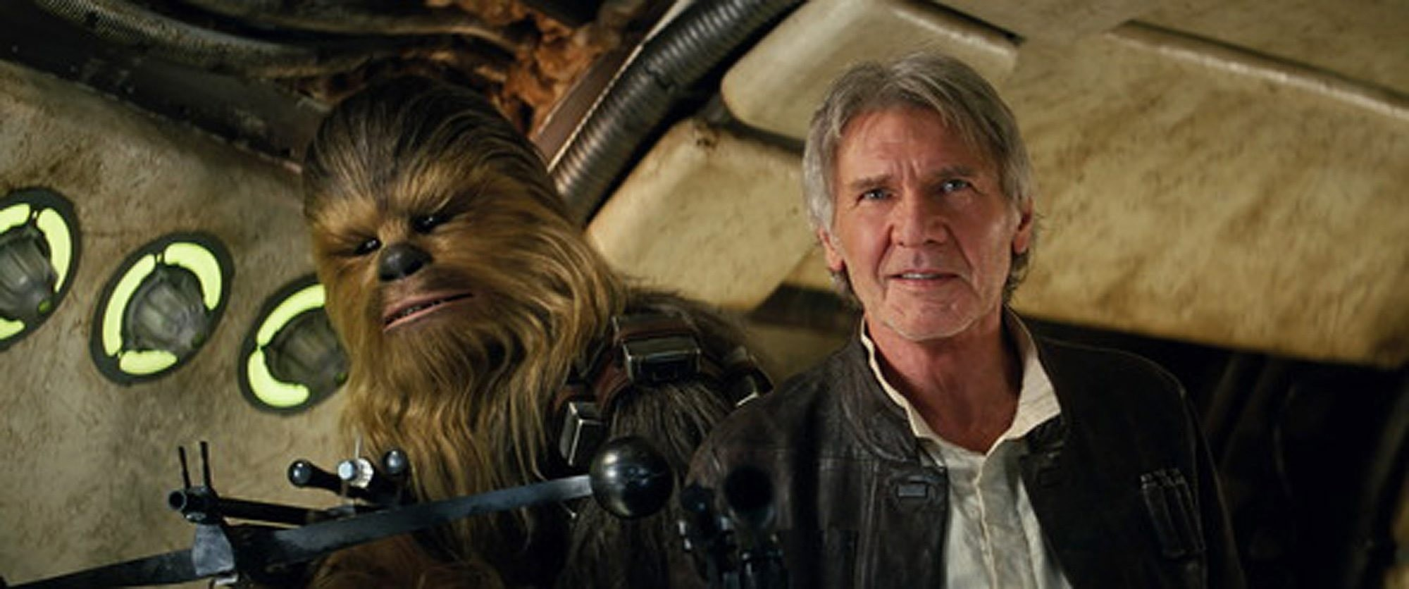 This photo provided by Lucasfilm shows Peter Mayhew as Chewbacca and Harrison Ford as Han Solo in ,Star Wars: The Force Awakens,, directed by J.J. Abrams. (AP Photo)