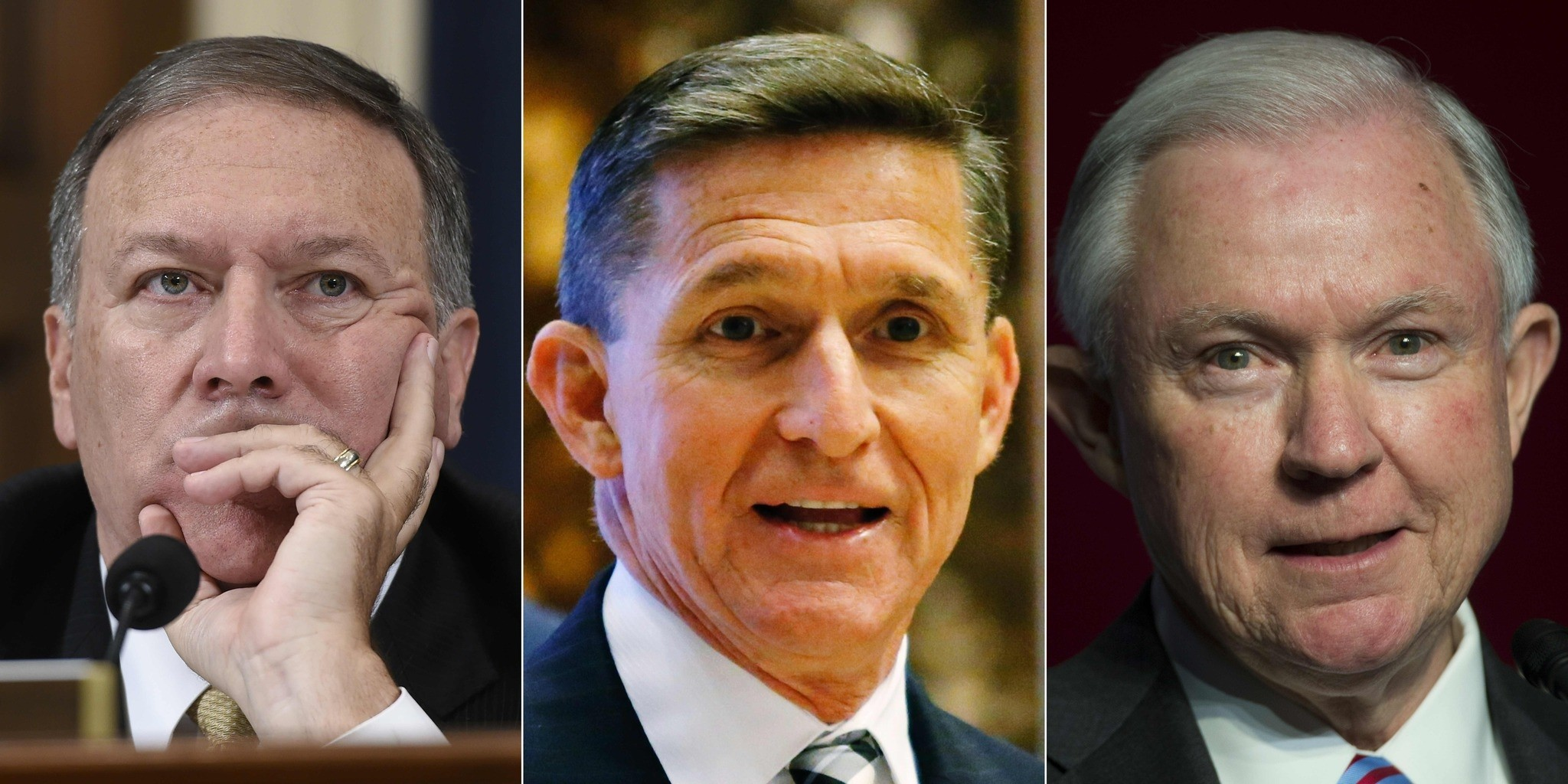 (L to R) US Representative from Kansas Mike Pompeo, Retired Lt. Gen. Michael Flynn and Senator Jeff Sessions.