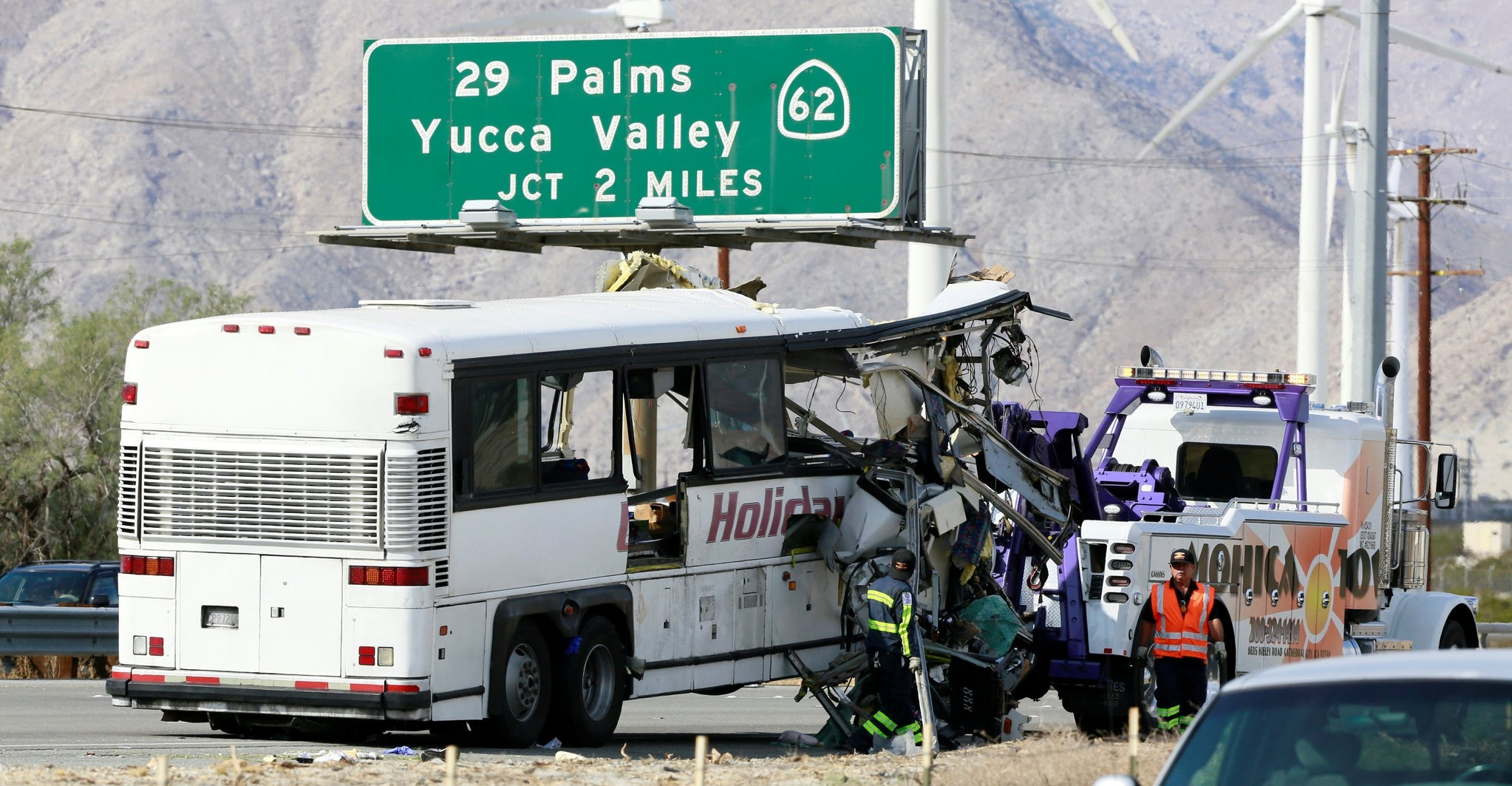 A mangled bus from the Holiday Bus Lines is seen after being towed from the scene of a mass casualty crash near Palm Springs, California October 23, 2016. (REUTERS Photo)