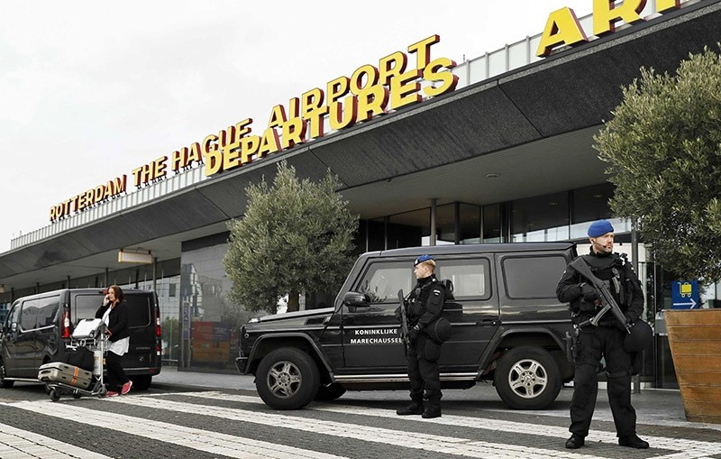 Dutch military police carry out controls at the entrance of Rotterdam The Hague Airport on 17 November 2016. (EPA Photo)