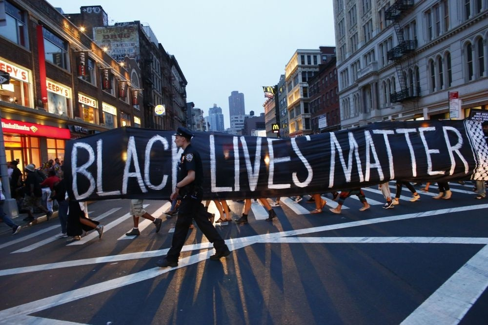 A police officer patroling during a protest in support of the Black Lives Matter movement in New York, July 9, 2016.