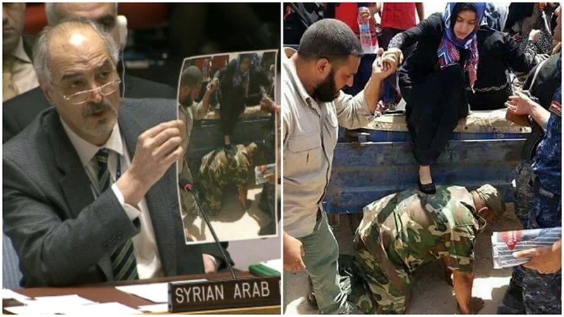 Screenshot from UN Web TV(L) shows Ja'afari at UNSC meeting, with a photo from June(R) showing a woman in Iraq.