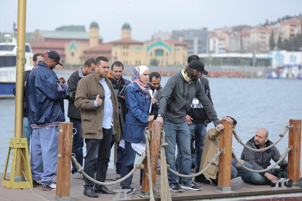 Samah Safi Bayazid (C) on a film set in Istanbul.