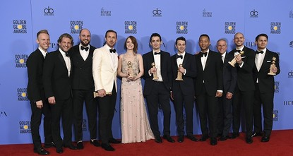 pWhimsical modern-day musical La La Land pirouetted its way into major Oscars contention Sunday as it swept the board at the Golden Globes, the glitziest party of the showbiz year./p  pDamien...