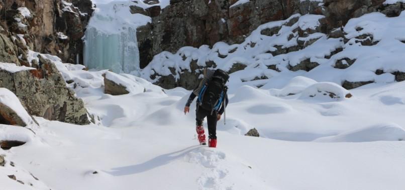 FROZEN WATERFALL PRIME SPOT FOR ICE CLIMBING IN EASTERN TURKEY'S AĞRI