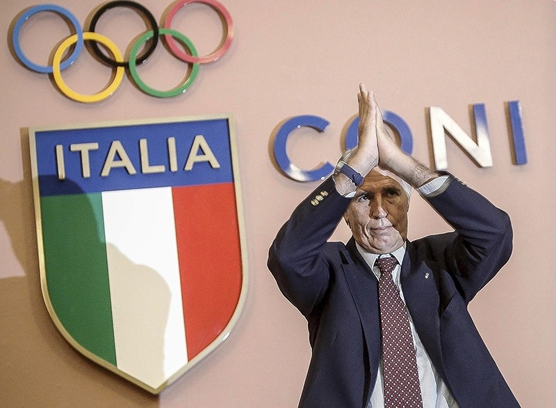 In this Wednesday, Sept. 21, 2016 file photo, CONI (Italian Olympic Committee) President Giovanni Malago' applauds during a press conference at the CONI headquarters in Rome. (AP Photo)
