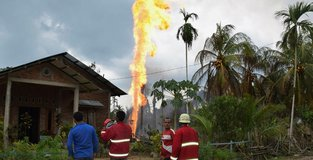 At least 10 dead due to oil well fire in Indonesia