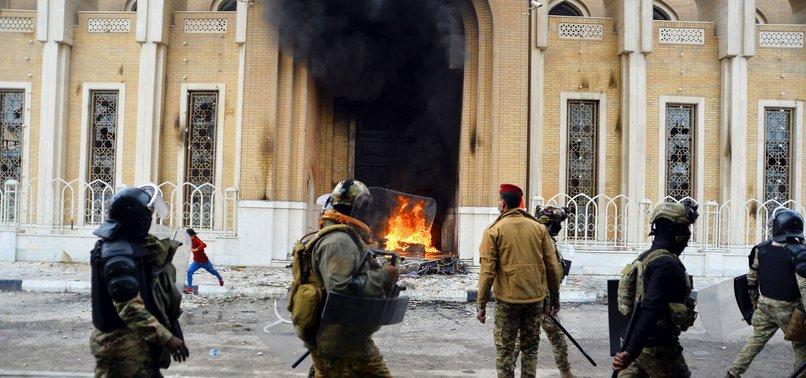 IRAQI PROTESTERS AGAIN SET FIRE TO IRANIAN CONSULATE