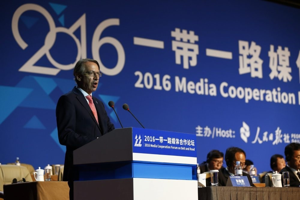 Agencia EFE President Jose Antonio Vera delivers a speech during the 2016 Media Cooperation Forum on Belt and Road at China National Convention Center in Beijing, China, July 26.