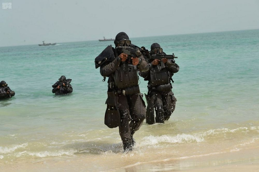 Members of the Royal Saudi Navy take part in a Gulf Shield 1 exercise, east of Saudi Arabia, on Oct, 4.