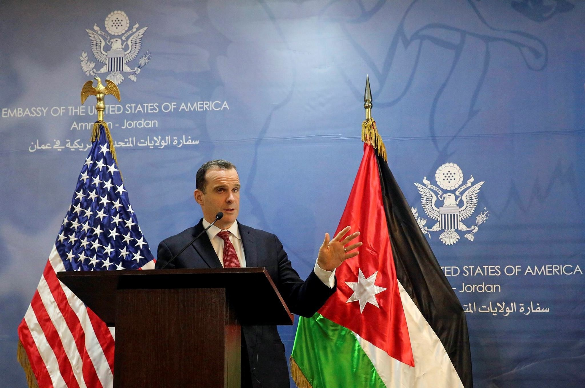 Brett McGurk, the White House envoy to the U.S.-led military coalition against Daesh, speaks during a press conference at the U.S. Embassy in Amman, Jordan, Sunday, Nov. 6, 2016. (AP Photo)