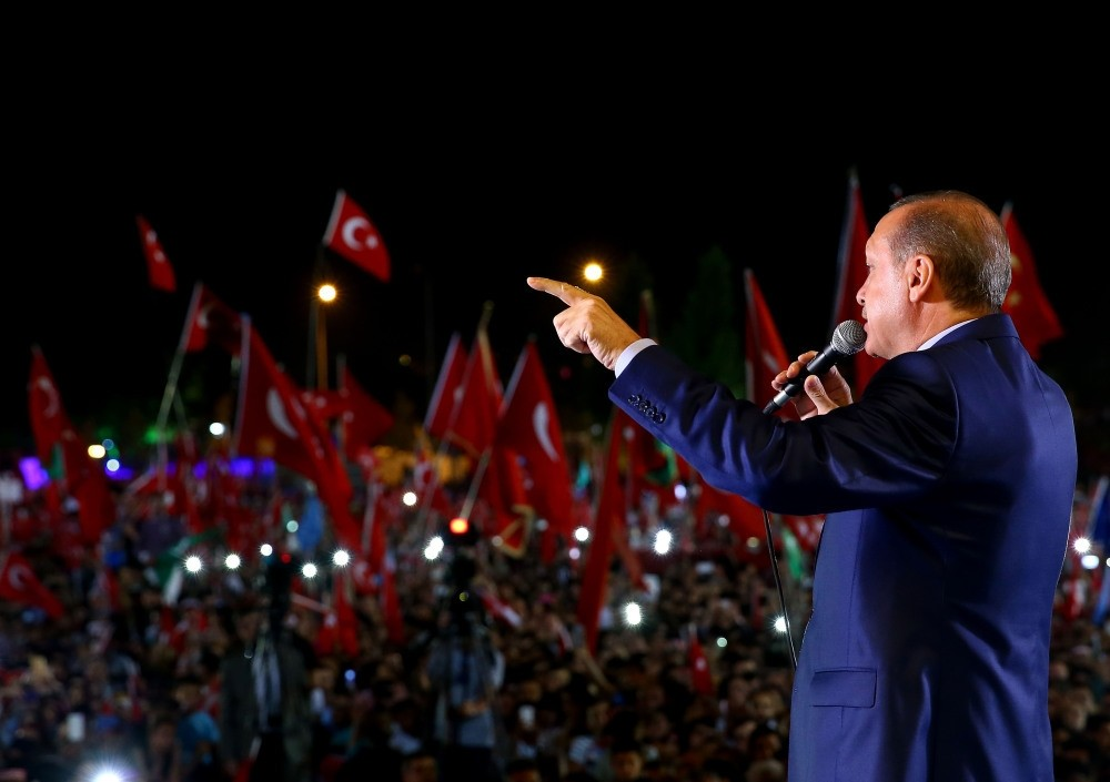 President Erdou011fan addressing a mass crowd at the Presidential Complex in Ankara on Wednesday.
