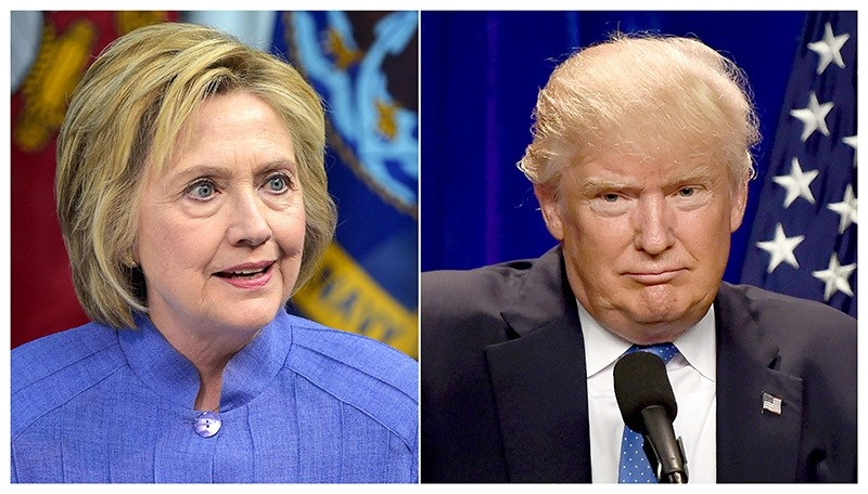 This combination of file photos shows Democratic presidential candidate Hillary Clinton(L) on June 15, 2016 and presumptive Republican presidential nominee Donald Trump on June 13, 2016. (AFP Photo)